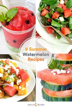 Beat the summer heat with these refreshingly healthy watermelon recipes from… Watermelon Recipes, Fruit Recipes, Summer Recipes, Dessert Recipes, Summer Desserts, Drink Recipes, Easy Recipes, Salad Recipes, Low Calorie Fruits
