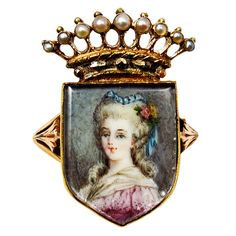 portrait ring with pearl studded crown marie antoinette