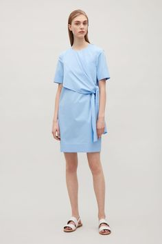 COS image 1 of Dress with knot detail in Sky Blue