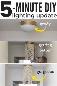 Boob lights bringing you down? BANISH THEM in mere minutes! No electrical no-how required. Heck, you don't even need a power tool! Here's how! Opt for a gorgeous alternative to that builder-grade flush mount light with a boho macrame shade! #booblight #booblights #booblightalternative #DIY #DIYlighting #uglyceilinglight #boholighting #macramelighting #macrameshade #macramependantlight #boholight