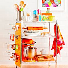 Use a utility shelf to keep kitchen supplies organized.