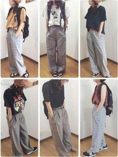 おはようございます╰(*´︶`*)╯♡ LOWRYSFARMさんの。 グレンチェックパンツのこの夏の Grunge Fashion, Types Of Fashion Styles, Harem Pants, Poses, Grunge Style, How To Wear, Clothes, Nice, Figure Poses