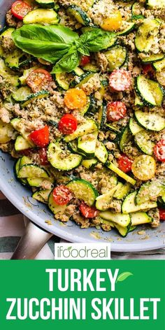 This 30 Minute Healthy Ground Turkey Zucchini Skillet with Pesto is delicious low carb one pot dinner recipe that will become your family's favourite! Minimum ingredients and effort with maximum flavour. Low Carb Ground Turkey Recipe, Healthy Ground Turkey, Healthy Dinner Recipes, Diet Recipes, Cooking Recipes, Entree Recipes, Healthy Meals, Clean Eating Recipes, Healthy Eating