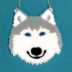 Acrylic Perspex Laser Cut Husky necklace