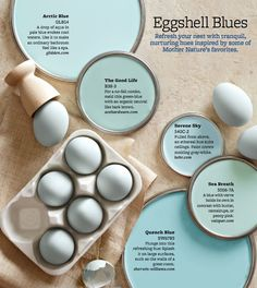 "Eggshell Blue Paint Colors - Invoke peaceful vibes in your nest with hues inspired by blue-tone eggs. Robin's-egg blue is Ontario-based decorator Michael Penney's signature hue. ""Robin's-egg blue is a good beginner color,"" he says. ""We see it in the sky Wall Colors, House Colors, Robins Egg Blue Paint, Robin Egg Blue, Duck Egg Blue Spray Paint, Paleta Pantone, Do It Yourself Design, Paint Colors For Home, Paint Colours"