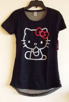 2327fa984220 Hello Kitty Women s Back Mesh Cover-up Shirt in Black (Womens-LARGE)