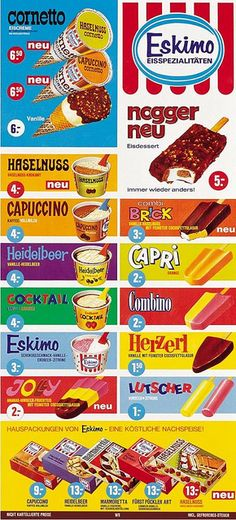 So colorful and tasty looking! Retro Advertising, Retro Ads, Advertising Signs, Vintage Advertisements, Vintage Ads, Vintage Posters, Vintage Food, Vintage Trends, Yummy Ice Cream