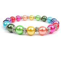 Pearl Rainbow Stretch Bracelet Colorful  by ABeadedStory