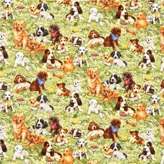 green Timeless Treasures dog animal fabric puppy meadow