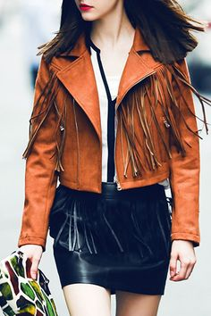 Lapel Fringed Suede Jacket