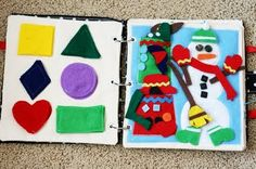 quiet book - it's made of felt (the kid can manipulate stuff in the book) and it's meant to keep the kid ________.