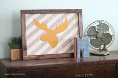 Striped moose head layered sign