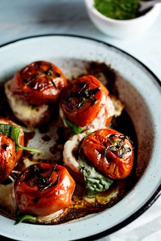 Roasted Caprese Tomatoes with Basil dressing,,,that looks like balsamic?