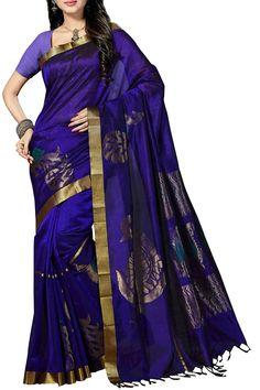 Shimmer Blue Mayur Zari Border Kanjivaram Pure Silk Cotton Saree