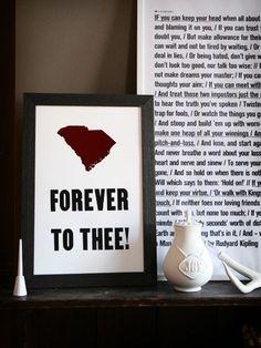 Forever // South Carolina Letterpress Print on 100% Cotton