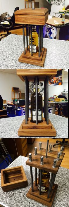 Whisky in a cage - you have to dig before you can sip Pretty Cool, Whisky, Wine Rack, Liquor Cabinet, Inspiration, Canning, Cool Stuff, Storage, Board