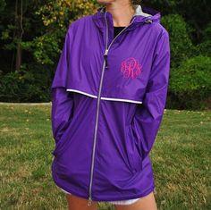 purple monogrammed rain jacket-wind breaker-perfect for fall