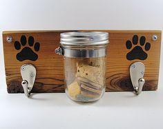 CUSTOM ORDER-dog leash treat holder mason jar by ScrapwoodStudio
