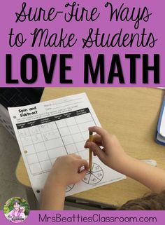 """From hands-on tasks with manipulatives and """"scooting"""" around the classroom to math games and task cards, this post is full of sure-fire ways to make your primary students love math! #math #handson #engagement"""