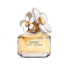 Marc Jacobs, Daisy Perfume Bottle, Watercolor Fashion Illustration, Art Print, Etsy