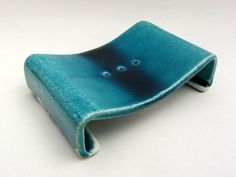 "Soap dish. ""Glacier"" series (white clay, turquoise blue glaze). Hand built earthenware ceramic design by Pottery Studio Saskia Lauth / France. www.saskia-lauth.com"