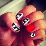 Black & White Chevron Nail Wraps w/ Red accent nail