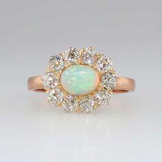 Elegant 1890's Opal & 1ctw Old Mine Cut Diamond Halo Rose Gold Ring 14k