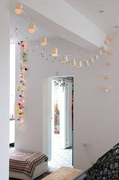 fairy lights + colourful crochet blanket