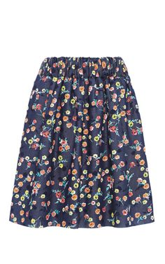 Harvey Faircloth Floral Chambray Skirt by Harvey Faircloth for Preorder on Moda Operandi