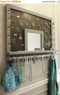 SPRING SALE You Pick The Stain, Mesh and Hook Color, Leaf Trim and Mirror Series Wall Mounted Jewelry Organizer withBracelet Bar and Crystal