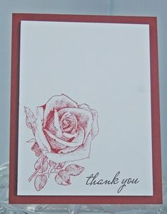 Red Rose Hand Made Thank You Card   Laurascrafts - Cards on ArtFire