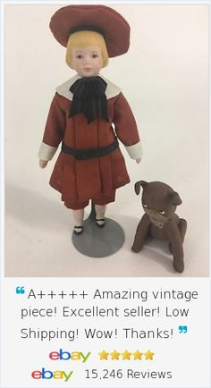 Absolutely charming Artist Designed OOAK Shirley White 1981 Buster Brown & Tige Dog Set 2,  Dollhouse size