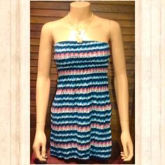 Cute Pink & Navy Tube Top Adorable tube top with multicolor horizontal stripes, elastic bust, long hanging, petite size, navy, white, and pink/coral colors. Great pre-loved condition!⭐️⭐️⭐️⭐️ It is the BUYER'S responsibility to ensure an item will fit.  ✅ASK QUESTIONS ✅Bundle ✅Offers ❌NO Trades ❌NO Off-Site Transactions Mimi Chica Tops