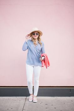85435b1321 Bows & Sequins wearing white jeans for spring with a blue and white striped  shirt.
