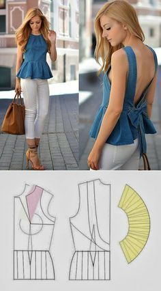 ideas for sewing patterns shirt free Diy Clothing, Sewing Clothes, Clothing Patterns, Dress Patterns, Fashion Sewing, Diy Fashion, Fashion Outfits, Costura Fashion, Shirt Makeover