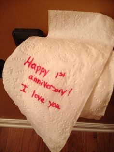 Instead of paying for toilet paper for your 1st wedding anniversary, make your own. I did and my hubby thought it was hysterical.
