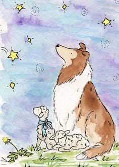 Collie Art- Wishing Star- 5X7 Archival PRINT- Nursery Wall Decor for Baby and Children