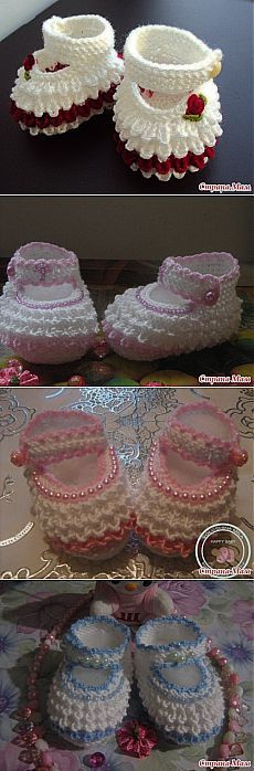 "- Страна Мам [ ""For crumbs princess - World bootees."", ""Oh my goodness! How sweet."", ""Find and save knitting and crochet schemas, simple recipes, and other ideas collected with love. Crochet Baby Mittens, Crochet Baby Clothes, Crochet Baby Shoes, Crochet Slippers, Baby Knitting, Crochet Converse, Crochet Cardigan, Knitting Socks, Knitting Ideas"