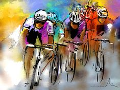Modern and vibrant Artwork with strong colours featuring a group of cyclists racing the Tour de France Sports Painting, Bike Poster, Cycling Art, Cycling Tips, Bicycle Art, Sports Art, Oeuvre D'art, Painting Inspiration, Fine Art America