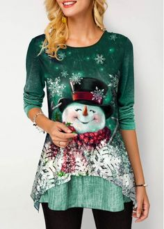 New Arrival | Liligal.com Christmas Tops, Christmas Snowman, Green Christmas, Halloween Christmas, Christmas Shirts, Christmas Sweaters, Print T Shirts, Trendy Tops For Women, Stylish Tops