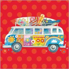 VW Camper Van with Surfboard ~ Flower Power Seventies Art
