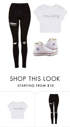 """""""Untitled #13"""" by beccaxoxostyles ❤ liked on Polyvore featuring Topshop and Converse"""