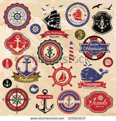 Collection of vintage retro nautical labels, badges and icons by Catherinecml, via Shutterstock