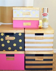 Upcycle white ikea storage boxes with gold spray paint