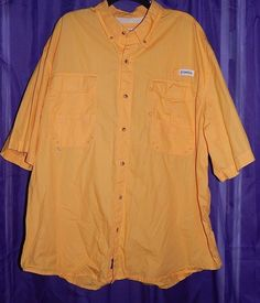 Magellan Sportswear Lake Fork Yellow Short Sleeve Button Down Fishing Shirt 3XL #MagellanSportswear #ButtonFront