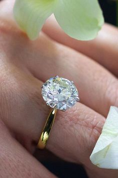 30 The Most Beautiful Gold Engagement Rings ❤️ gold engagement rings yellow gold round cut diamond ❤️ See more: http://www.weddingforward.com/gold-engagement-rings/ #weddingforward #wedding #bride #engagementrings #goldengagementrings