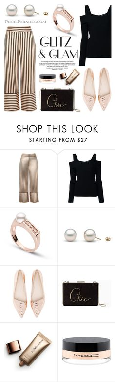 """""""Glitz Collection Akoya Pearl Ring"""" by pearlparadise ❤ liked on Polyvore featuring River Island, Tom Ford, Sophia Webster, Kate Spade, Nude by Nature and MAC Cosmetics"""