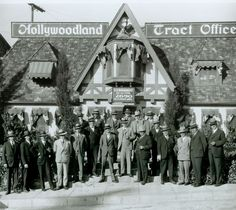 Hollywoodland Tract Office | Originally intended as a temporary billboard for a housing tract of the name 'Hollywoodland'. The Hollywood sign was first erected on a hillside over-looking the Los Angeles basin in 1923 - but now serves as an international icon.