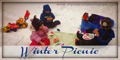 winter picnic in snow with kids