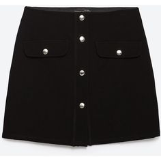 Zara Miniskirt With Press Studs ($30) ❤ liked on Polyvore featuring skirts, mini skirts, black, bottoms, short black skirt, black miniskirt, zara skirt, short black mini skirt and short skirts